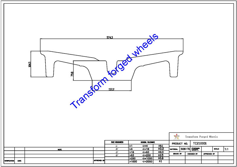 TC210001 21 Inch Forged Aluminum Raw Center Disk Blanks Drawing