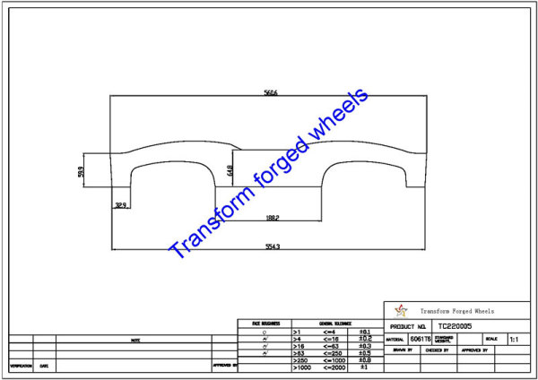 TC220005 22 Inch Forged Aluminum Raw Center Disk Blanks Drawing