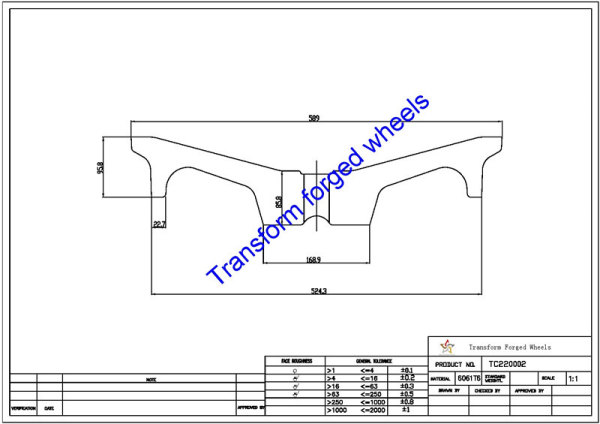TC220002 22 Inch Forged Aluminum Raw Center Disk Blanks Drawing