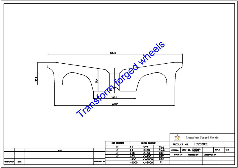 TC200001 20 Inch Forged Aluminum Raw Center Disk Blanks Drawing