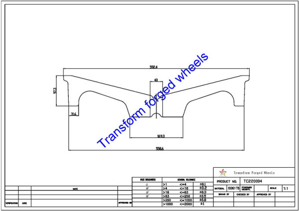TC220004 22 Inch Forged Aluminum Raw Center Disk Blanks Drawing
