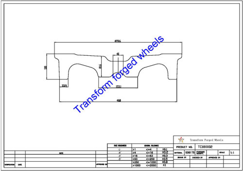 TC180002 18 Inch Forged Aluminum Raw Center Disk Blanks Drawing