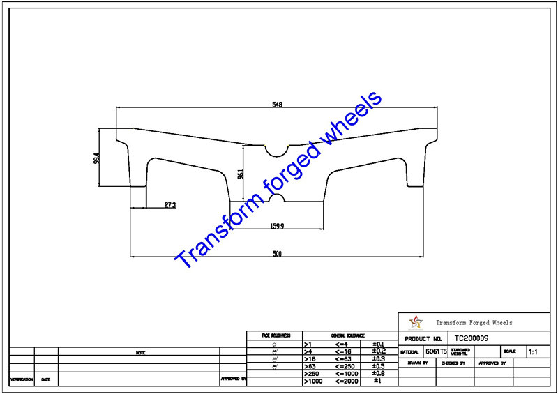 TC200009 20 Inch Forged Aluminum Raw Center Disk Blanks Drawing