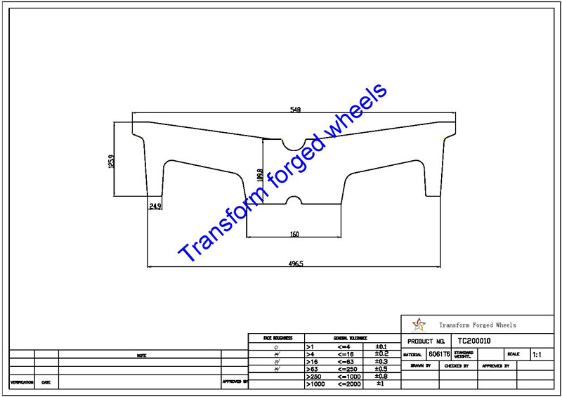 TC200010 20 Inch Forged Aluminum Raw Center Disk Blanks Drawing