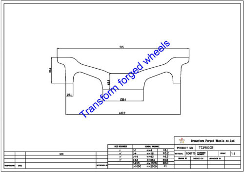 TC190005 19 Inch Forged Aluminum Raw Center Disk Blanks Drawing