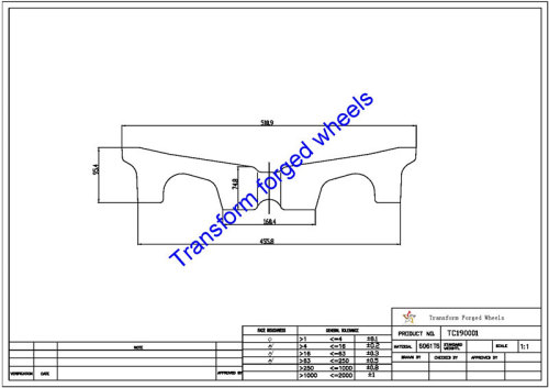 TC190001 19 Inch Forged Aluminum Raw Center Disk Blanks Drawing