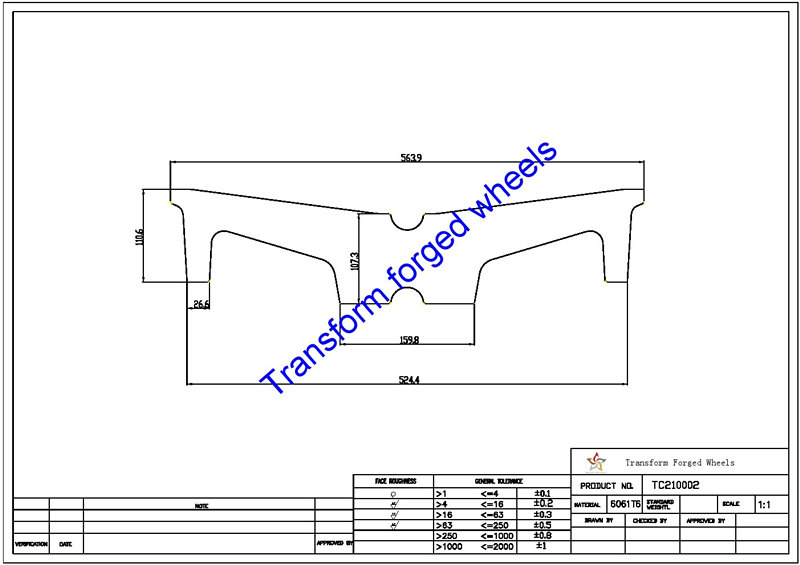 TC210002 21 Inch Forged Aluminum Raw Center Disk Blanks Drawing