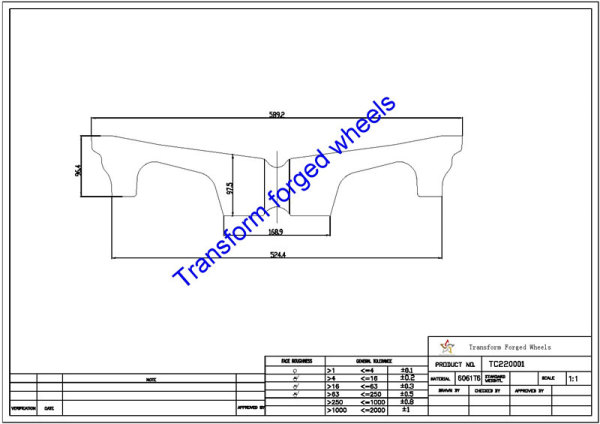 TC220001 22 Inch Forged Aluminum Raw Center Disk Blanks Drawing
