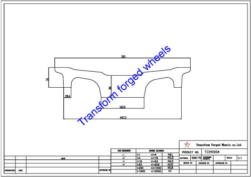 TC190004 19 Inch Forged Aluminum Raw Center Disk Blanks Drawing