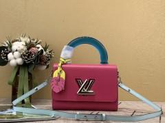 1:1 original leather Louis tote shoulder bag twist MM M56131 00454 top quality