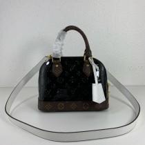 1:1 original leather Louis tote shoulder bag monogram vernis Alma BB M44389 00409 top quality