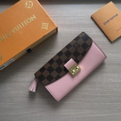 1:1 Louis Vuitton real leather croisette long wallet N60207 00583 top quality