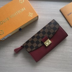 1:1 Louis Vuitton real leather croisette long wallet N60207 00582 top quality