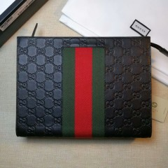 1:1 original leather Gucci wallet men clutch bag sale #475316 00601 top quality
