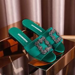 1:1 original leather Manolo Blahnik women sandal Swarovski diamond 00810 top quality