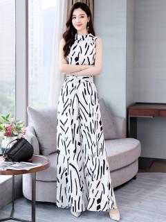 女神範印花墜感闊腿褲套裝2020夏新款 氣質顯瘦時髦裙褲兩件套 限時折扣!超值二入組(省300!)