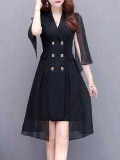 新款連衣裙2020名媛法式禦姐風收腰顯瘦氣質女神範西裝領裙子女夏