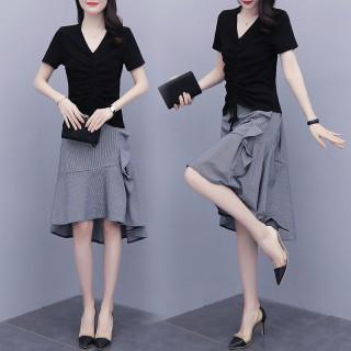 2020夏裝新款大碼女裝抽繩棉上衣+小香風不規則半身裙套裝