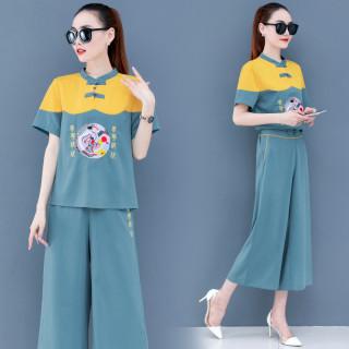 中國風兩件套闊腿褲套裝2020夏新改良民族繡花短袖國潮雪紡上衣女