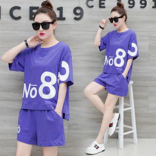 休閑運動服套裝女夏2020新款時尚印花韓版寬松短袖短褲跑步兩件套