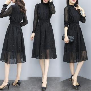 2020春季新款韓版長袖連衣裙收腰顯瘦過膝雪紡中長裙
