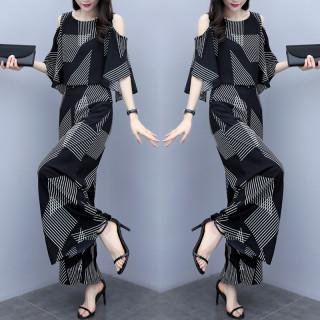 2020新款夏季韓版女裝顯瘦洋氣露肩上衣褲兩件套條紋闊腿褲套裝女