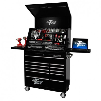 Extreme Tools 41  Deluxe Portable Workstation & Roller Cabinet Set – Black/Red
