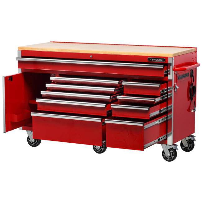 Heavy-Duty 61 In. W 10-Drawer, Deep 1-Door Tool Chest Mobile