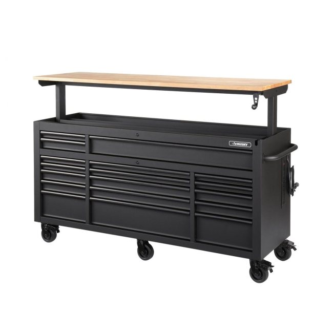 Heavy-Duty 72 In. W 18-Drawer, Deep Tool Chest Mobile Workbench In Matte Black With Adjustable-Height Hardwood Top