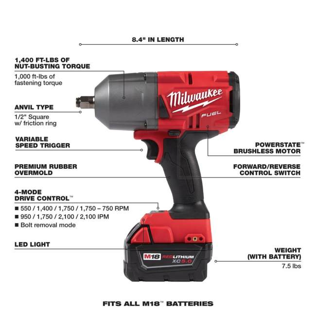 18-Volt Lithium-Ion Brushless Cordless 1/2 in. Impact Wrench w/Friction Ring Kit w/One 5.0 Ah Battery and Bag