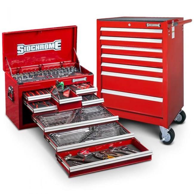 Sidchrome 262pc MET/AF Tool Kit - Black Red