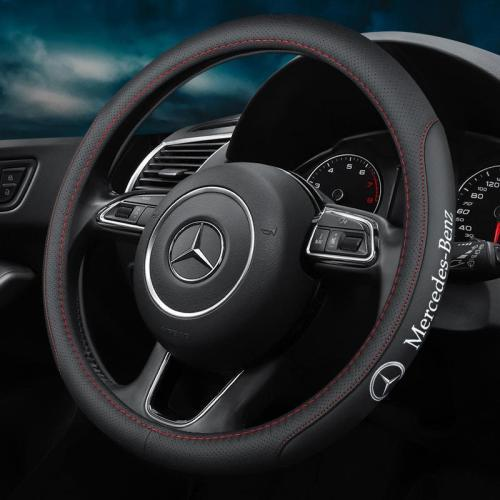 Car Logo Handmade Leather Steering Wheel Cover