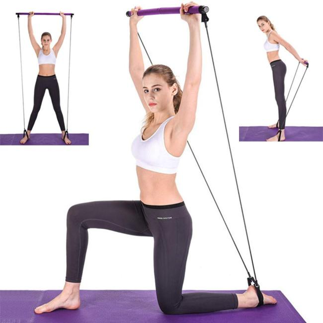 Portable Pilates Exercise Stick Yoga Exercises Pilates Stick Bar Puller Rope