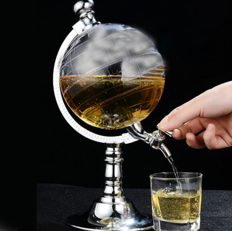 Whiskey Decanter Set Globe Dispenser Antique transparent Glass Liquor Wine Drinks juices Dispenser Western Restaurant Bar Props