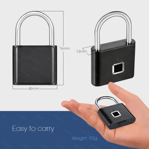 Towode Keyless USB Rechargeable Door Lock Fingerprint Smart Padlock Quick Unlock Zinc alloy Metal Self Developing Chip