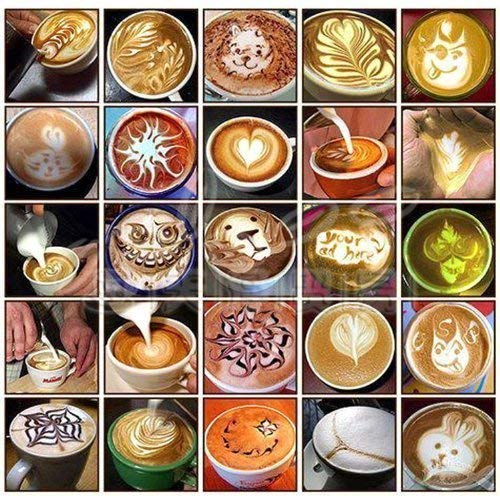 6 Pcs Coffee Decorating Stencils, Magnoloran Coffee Art Stencils