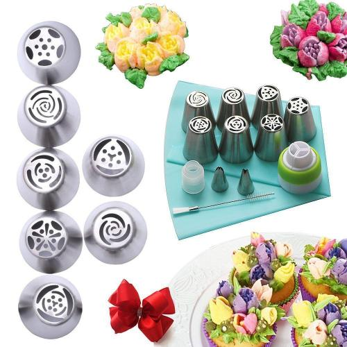 Stainless steel spout set (13 pieces) for cupcakes and cake decoration action