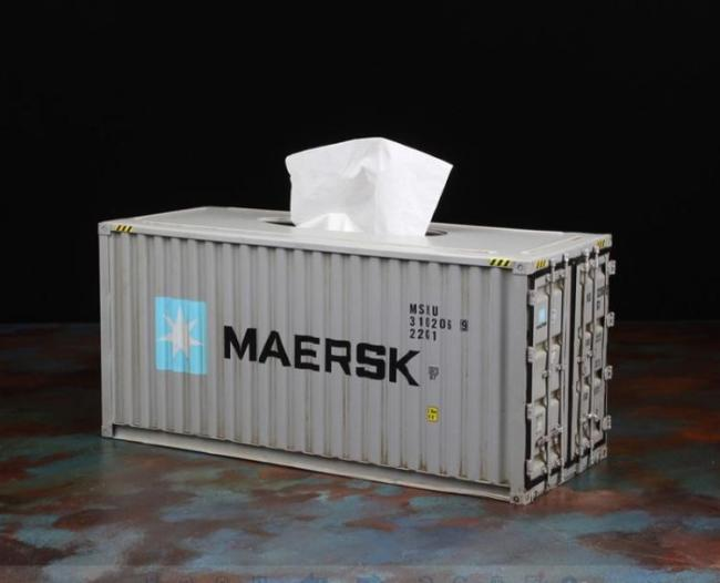 Mini Shipping Container Tissue Box Made From Actual Metal