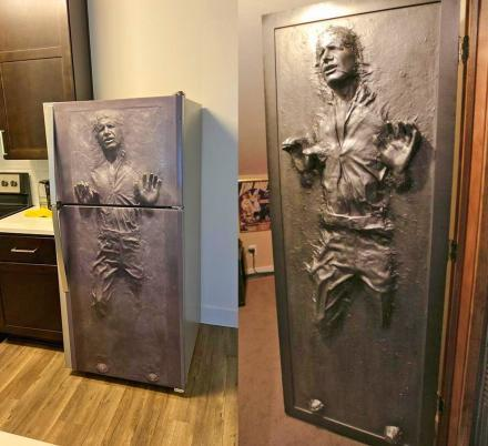 Halloween FridgeWrap: Han Solo in Carbonite Vinyl Sticker for Refrigerator
