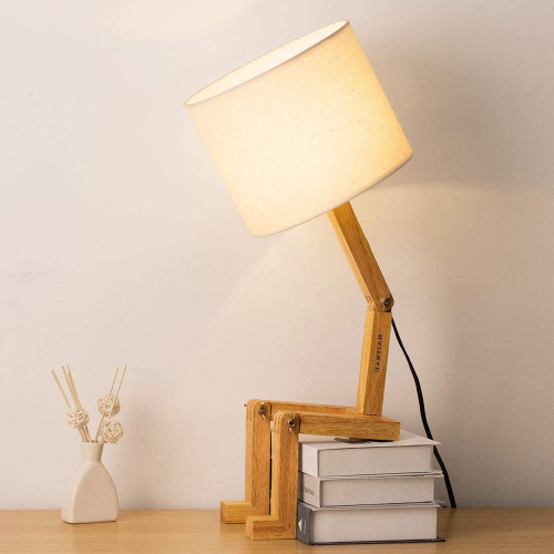 Bedroom Table Lamp - Fun Desk Lamps With Wooden Base Unique Table Lamps For Kids Room, Living Room, Bedroom, Office, Reading Room