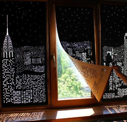 Incredible Blackout Curtains With Holes Create Amazing City Designs on Your Windows