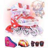 Kids Adjustable Inline Skates Cool Running Skates Children Full Set