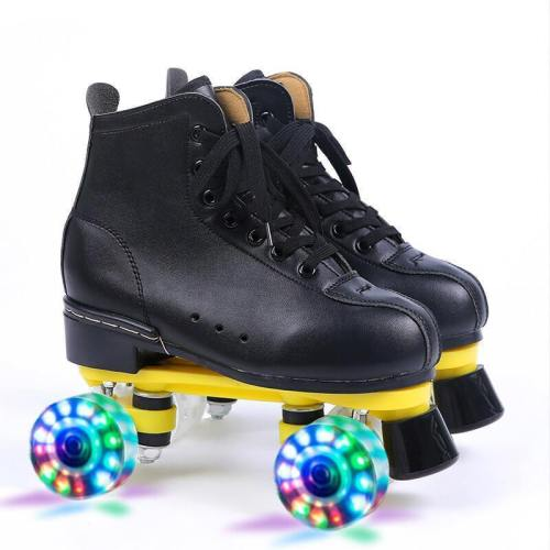 Leather Double Row Flash Adult Roller Skates