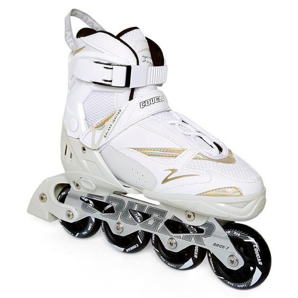 Black And White Adjustable Adult Inline Skates Quad Roller Blades