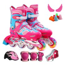 Children's Inline Skates Flashing Roller Full Set Of Kids Adjustable Single Roller Skates