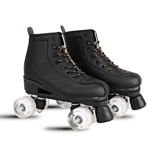 Adult Flash White And Black Roller Skates For Men And Women