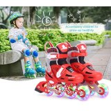 Girls And Boys Adjustable Inline Skates Kids Full Flash Skates Full Set Beginners