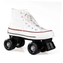 White Retro Canvas Womens & Mens Roller Skates For Beginners