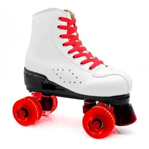 White Outdoor Light Up Women & Men Roller Skates For Beginner