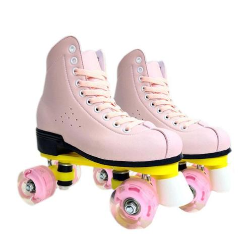 Light Pink Fancy Roller Skates With Light Up Wheels